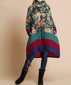 Winter loose padded Printed coat/ linen babydoll padded dress
