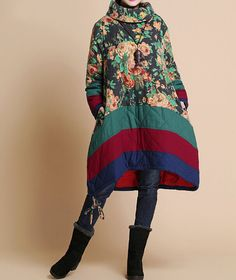 Winter loose padded Printed coat/ linen babydoll padded by MaLieb