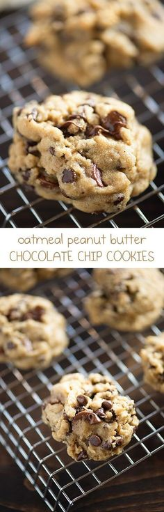 So soft and chewy! These oatmeal peanut butter chocolate chip cookies will be a new favorite, for sure! So soft and chewy! These oatmeal peanut butter chocolate chip cookies will be a new favorite, for sure! Cookie Desserts, Just Desserts, Cookie Recipes, Delicious Desserts, Dessert Recipes, Peanut Butter Oatmeal, Oatmeal Chocolate Chip Cookies, Chocolate Chips, Chocolate Chocolate