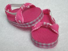 Pink gingham sandals for 18 inch American Girl doll. $5.50, via Etsy.