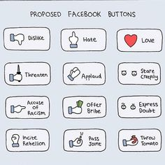 Proposed Facebook buttons by @pdlcomics! could definitely do with a few of these! #facebook #buttons #illustration #design #funny #poorlydrawncomics #poorlydrawnlines
