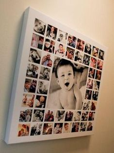 Photo idea on canvas. One large image, lots of small squared images mod-podged onto a canvas. A way to use and display so many of the pictures just hidden away on my hard drive! Do this for your kids! Such a great keepsake Foto Baby, Photo Displays, Baby Pictures, Monthly Pictures, Diy Gifts With Pictures, Monthly Baby Photos, Color Pictures, Prom Pictures, Life Pictures