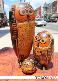 The Owl Family Hand-carved gourd art Huancayo, Peru