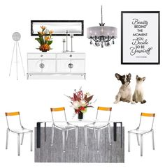"""'Beauty' Diningroom"" by silverlime2013 on Polyvore featuring interior, interiors, interior design, home, home decor, interior decorating, Calvin Klein, Kartell, Schonbek and Jonathan Adler"
