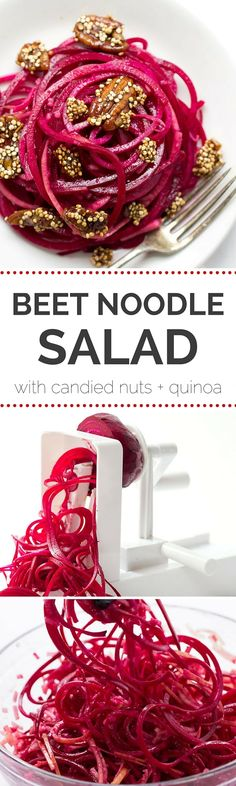 A detoxifying beet noodle salad tossed in a simple lemon-dijon-maple dressing! (vegan + gluten-free) A detoxifying beet noodle salad tossed in a simple lemon-dijon-maple dressing! Raw Food Recipes, Veggie Recipes, Salad Recipes, Cooking Recipes, Zoodle Recipes, Dessert Recipes, Raw Vegan, Vegan Vegetarian, Vegetarian Recipes