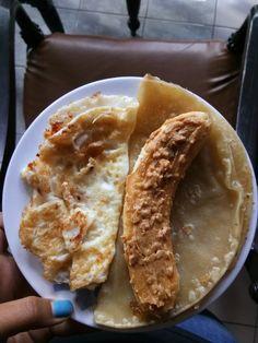 White eggs + paratha bread + banana for breakfast today