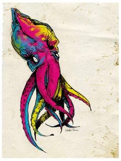 CMYK Squid Follow octopusthingz for more tentacle thingz!