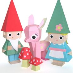 $4 Fawn and Gnomes Dolls  Printable Paper Craft PDF from Fantastic Toys - this is so so so cute!