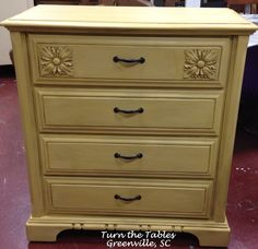 Restored dresser painted in American Paint's chalk paint called Amber Waves of Grain finished with blend of waxes to bring out the accents and add depth.