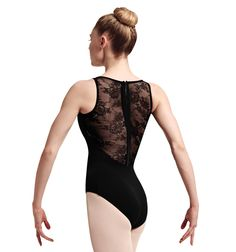 """Elah"" Lace & Ribbon Zip Back Tank Leotard - Tanks 