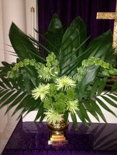 Palm sunday arrangement my floral arrangements palm sunday, easter flowers, church flower lent altar flower arrangements for church, palm sunday Altar Flowers, Church Flowers, Wedding Table Flowers, Bouquet Flowers, Funeral Floral Arrangements, Easter Flower Arrangements, Altar Decorations, Palm Sunday, Lenten