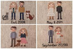 I was unbelievably touched and excited when I was recently contacted to stitch not one or two but FOUR portraits for this amazing (and amazingly good looking) couple. Their wedding and reception were months apart, so we made one to commemorate both and the two more portraits honoring their beloved fur babies who have passed on and the sweet new puppy filling their home with joy. @caseyandhercamera thank you so much for such a fun project!!! I am taking orders!!! @littlethistles…