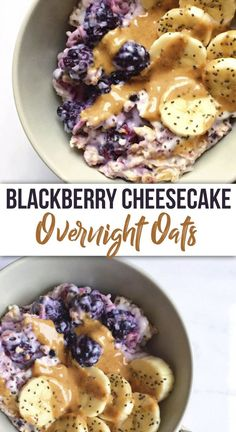 Blackberry Cheesecake Overnight Oats – The Dish On Healthy A breakfast bowl so indulgently healthy, it could pass off as dessert! Creamy, Blackberry Cheesecake Overnight Oats that are soaked in delicious coconut yogurt & packed with all the superfoods! Healthy Breakfast Recipes, Healthy Snacks, Healthy Recipes, Blackberry Recipes Breakfast, Healthy Blackberry Recipes, Healthy Breakfasts, Brunch, Oats Recipes, Cooking Recipes