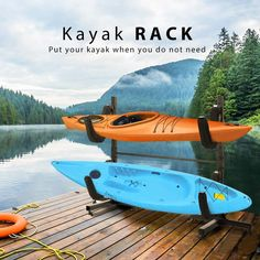 HEAVY DUTY MATERIAL - The kayak stand is fully tubular metal made with black powder-coated finish ensures durability for long-term use; PE-foam cushioned sleeves works for UV protection and scratch resistance. LARGE CAPACITY - The rack comes with 2 removable holders but not limited to installed with only 2; With multiple holes designed on tube, the cradle arms are available for level adjustment to meet different size of items. STABLE FREESTANDING - Incredibly stable even in poor wind conditions Kayak Storage Rack, Kayak Rack, Small Canoe, Small Boats, Kayak Stand, Kayak For Beginners, Sup Paddle Board, Kayaking Tips, Kayak Accessories