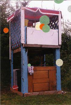 recycled door, lattice, patio umbrella - ruefive playhouse installation