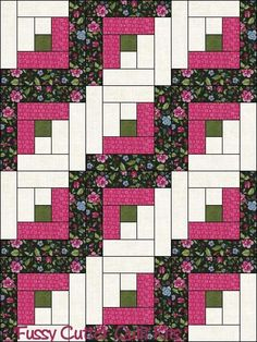 Black Pink Blue Floral Flowers Fabric Easy Log Cabin Pre-Cut Quilt Blocks Top Quilting Squares Kit Material