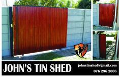 Sliding steel gates with timber cladding Tin Shed, Steel Gate, Timber Cladding, Fence Ideas, Outdoor Furniture, Outdoor Decor, Outdoor Storage, Gates, Garage Doors