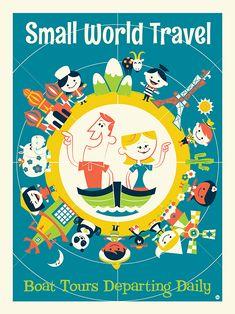 Disney Wonderground Gallery Small World Art Postcard, NEW Walt Disney, Disney Rides, Disney Love, Disney Magic, Disney Parks, Disney Travel, Disney Stuff, Vintage Disney Posters, Disney Movie Posters