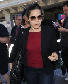 America Ferrera opted for casual ensemble for her flight into the South of France