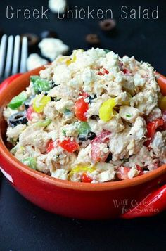 Greek Chicken Salad | chicken salad filled with veggies and Greek yogurt | from willcookforsmiles.com