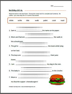 ... Pinterest | Inflectional Endings, 2nd Grade Worksheets and Worksheets