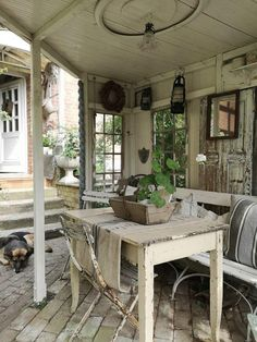 Source by The post princessgreeneye: Outdoor Garden Rooms, Outdoor Retreat, Outdoor Living, Small Space Living, Living Spaces, New Kitchen Doors, Porches, Potting Tables, Summer Porch