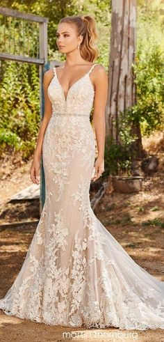 See more gorgeous bridal gowns by clicking on the photo Martin Thornburg Iris Wedding Dress Fitted Lace Wedding Dress, Wedding Dress Necklines, Wedding Dresses With Straps, Fit And Flare Wedding Dress, Lace Mermaid Wedding Dress, Gorgeous Wedding Dress, Best Wedding Dresses, Wedding Bridesmaid Dresses, Designer Wedding Dresses
