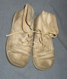 Vintage Children's Shoes Dirty White with Laces