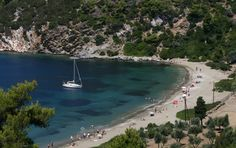 Kalamitsa Beach on Skyros Island (GR) Greece Tourism, Greece Travel, Most Beautiful Greek Island, Portal, Greek Island Holidays, Kai, Greece Islands, Turquoise Water, Lakes