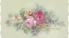 Vintage Roses Cream Back-round Beautiful Flowers Pictures, Flower Pictures, Vintage Flower Prints, Vintage Flowers, Tole Painting, Painting On Wood, Floral Painted Furniture, Shabby Flowers, Romantic Roses