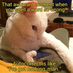 """That awkward moment when you spell a word so wrong Autocorrect is like """"I've got nothing, man."""""""
