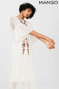 Mango White Embroidered Maxi Dress