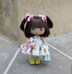Купить Малышка - голубой, коллекционная кукла, интерьерная кукла, текстильная кукла, подарок, подарок девушке