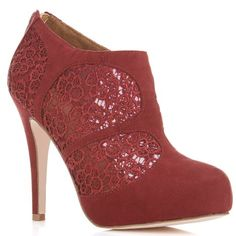 Tabitha Plum Lace Panel Heel Fashion Heels, Fashion Boots, Women's Fashion, Cheap Womens Shoes, Designer Boots, Dream Shoes, Shoe Collection, Me Too Shoes, The Help