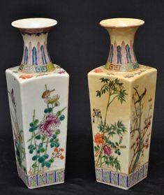 Par de vasos em porcelana chinesa um deles totalmente restaurado, medindo 25 cm de altura por 8 cm p