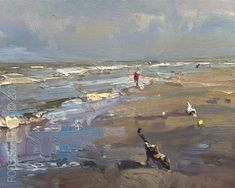 "Daily+Paintworks+-+""Seascape+Morning+Light""+-+Original+Fine+Art+for+Sale+-+©+Roos+Schuring"
