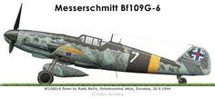 Bf109G-6 Slovaque Ww2 Aircraft, Fighter Aircraft, Military Aircraft, Fighter Jets, Military History, Military Art, War Thunder, Aircraft Painting, Ww2 Planes