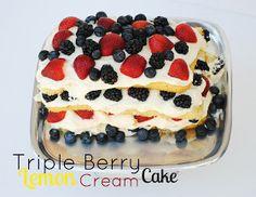 The Farm Girl Recipes: Triple Berry Lemon Cream Cake