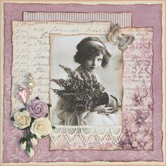 Pastel Lavender Floral Heritage Page...with roses & lace...Karis krok.