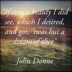 """""""If ever a beauty I did see, which desired, and got, 'twas but a dream of thee"""" - John Donne"""