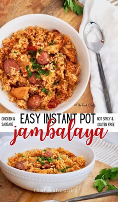 Simple, healthy, quick and flavor-packed weeknight meal! Easy Instant Pot Chicken & Sausage Jambalaya is a delicious and quick meal. Kid friendly, not too spicy (you control the heat), gluten free to boot! Recipe via Jambalaya Recipe Instant Pot, Instant Pot Dinner Recipes, Gluten Free Jambalaya Recipe, Healthy Jambalaya Recipe, Gluten Free Recipes Instant Pot, Instant Pot Meals, Homemade Jambalaya, Recipes Dinner, Chicken And Sausage Jambalaya