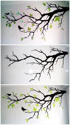 Feather Diy How To Make – feather diy Diy Wand, Mur Diy, Wall Painting Decor, Wall Murals, Wall Art, Wood Burning Art, Wall Drawing, Paint Designs, Wall Design
