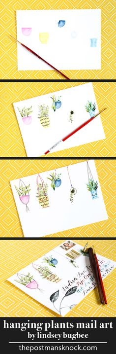 Hanging plants envelope art with watercolor calligraphy
