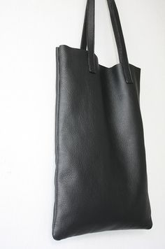 ANYA Basic Black Leather Tote Bag by MISHKAbags on Etsy