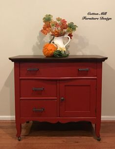 Cotton Mill Furniture Design dolled up this antique washstand with General Finishes Brick Red Milk Paint.