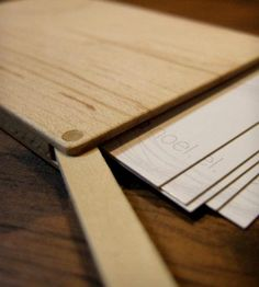 Slim Flip-Top Wood Business Card Holder