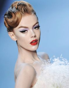 Lavender and red! Pat McGrath makeup - perfection