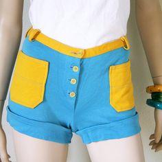 vintage 60s 70s TURQUOISE colorblock SHORT shorts size XS/S by PasseNouveauVintage, $24.50