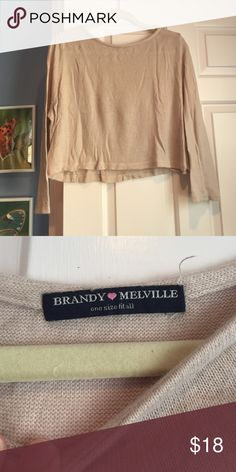 Pink Brandy Melville Cropped Sweater Very soft and comfortable pink sweater, one size fits all but definitely a little cropped Brandy Melville Tops