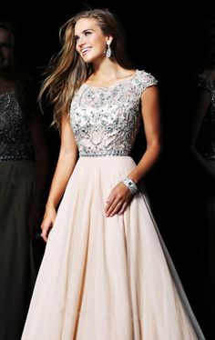 A-line Chiffon Scoop Natural Waist Floor-Length Zipper Cap Sleeve Appliques Beading Prom Dress picture 1